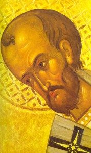 "St. John Chrysostom, Father of the Church. ""Chrysostom"" means ""golden-mouthed"""