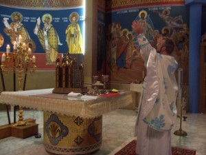 At the altar during the Divine Liturgy.
